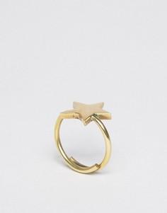 Золотистое кольцо со звездой Made - Золотой