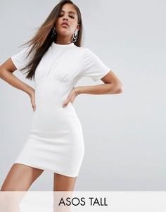 Корсетное платье мини в рубчик с чашечками на косточках ASOS TALL - Белый