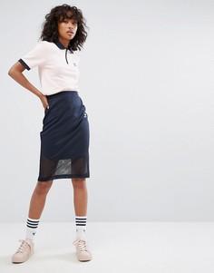 Темно-синяя юбка миди adidas originals Osaka - Темно-синий