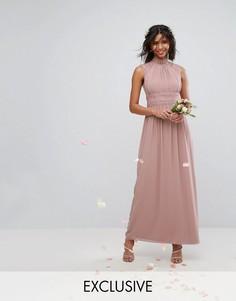 Платье макси с кружевной отделкой TFNC WEDDING - Розовый