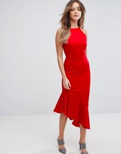 Атласное платье миди с каскадным краем Lavish Alice - Красный