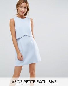 Платье мини с кроп-топом и отделкой ASOS PETITE - Синий