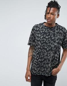 Футболка с леопардовым принтом AllSaints - Черный