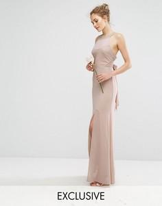 Шифоновое платье макси с отделкой в цвет и завязкой TFNC WEDDING - Коричневый