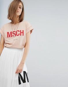Футболка бойфренда с принтом логотипа Moss Copenhagen - Розовый