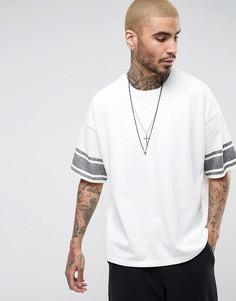 Футболка с заниженной линией плеч и полосками на рукавах AllSaints - Белый