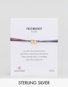 Шелковый регулируемый браслет с позолоченными сердечками Dogeared - Золотой