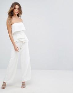 Комбинезон-бандо с широкими штанинами и плиссировкой Lavish Alice - Белый