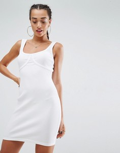 Облегающее платье мини в рубчик без рукавов с отделочными швами ASOS - Белый