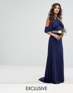 Платье макси с оборками, декорированной талией и шлейфом TFNC WEDDING - Темно-синий
