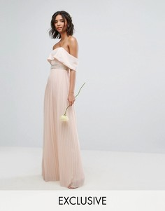 Платье макси с плиссированной юбкой TFNC WEDDING - Розовый