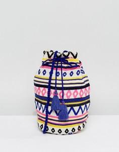 Сумка-мешок через плечо с вышивкой и кисточками Ashiana - Мульти