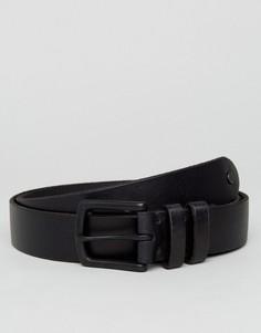 Узкий кожаный ремень AllSaints - Черный