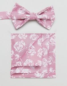 Розовый галстук-бабочка и платок для нагрудного кармана с цветочным принтом ASOS - Розовый