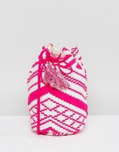 Сумка-мешок через плечо с вышивкой и кисточками Ashiana - Розовый