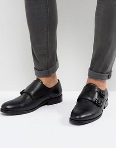 Кожаные туфли-монки с ремешками AllSaints - Черный
