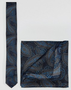 Набор из галстука и платка для нагрудного кармана ASOS - Темно-синий