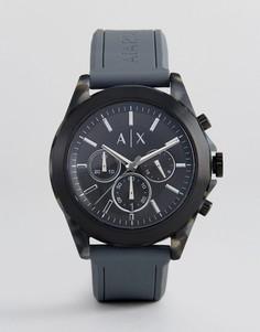 Часы-хронограф с серым силиконовым ремешком Armani Exchange AX2609 44 мм - Серый