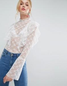 Кружевная блузка с оборками ASOS - Белый