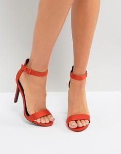 Атласные босоножки на каблуке New Look - Оранжевый