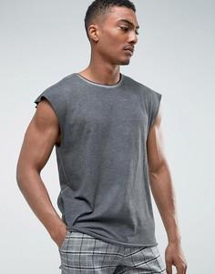Выбеленная футболка Weekday - Черный