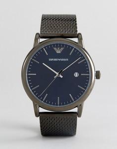 Темно-серые часы 43 мм с сетчатым браслетом Emporio Armani AR11053 - Черный