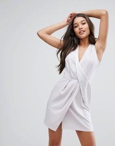 Платье мини с драпировкой ASOS - Серебряный
