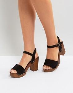 Замшевые босоножки на блочном каблуке New Look - Черный
