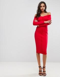 Облегающее платье миди с вырезом сердечком и планкой на пуговицах ASOS - Красный