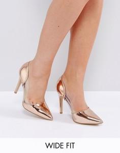 Туфли на каблуке для широкой стопы New Look - Розовый