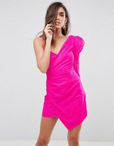 Кружевное платье мини на одно плечо с подплечниками ASOS - Розовый