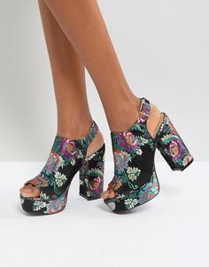 Босоножки из парчи на каблуке с ремешком через пятку New Look - Черный