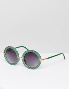 Солнцезащитные очки в зеленой оправе с блестками Jeepers Peepers - Зеленый