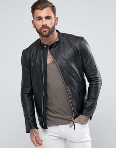 Кожаная куртка с асимметричной молнией Religion - Черный