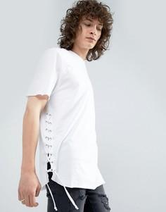 Длинная футболка с закругленным краем и люверсами ASOS - Белый