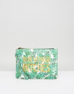 Клатч с пальмовым принтом и надписью Bon Voyage Bitches Skinnydip - Зеленый