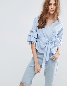 Клетчатая блузка с запахом New Look - Синий