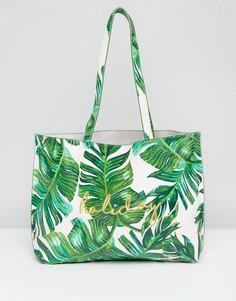Сумка-тоут с пальмовым принтом и вышивкой Holiday Skinnydip - Зеленый