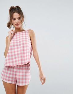 Пижамный комплект с майкой и шортами в клетку ASOS - Мульти
