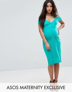 Облегающее платье с застежкой на крючки ASOS Maternity - Зеленый