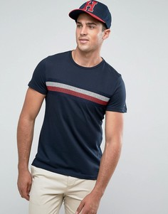 Темно-синяя футболка с вышитыми фирменными полосками Tommy Hilfiger Lars - Темно-синий