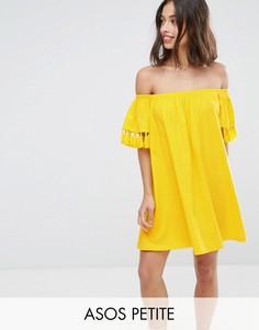Сарафан с открытыми плечами и кисточками ASOS PETITE - Желтый