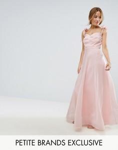 Струящееся платье макси с бантами на плечах Chi Chi Petite - Розовый