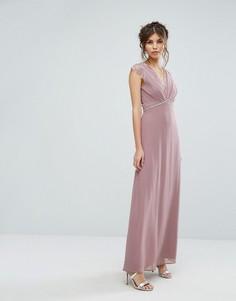 Платье макси с кружевной отделкой Elise Ryan - Розовый