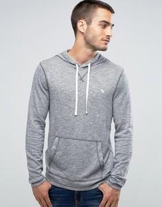 Серый меланжевый худи через голову с логотипом Abercrombie & Fitch - Серый