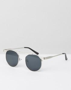 Круглые солнцезащитные очки с двойной переносицей Jeeper Peepers - Серебряный