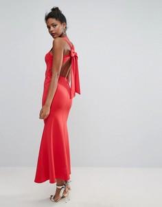 Платье макси с бантом сзади Club L - Красный