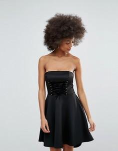 Приталенное платье с корсетной шнуровкой Club L - Черный