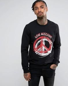 Черный свитшот с логотипом-пацификом Love Moschino - Черный