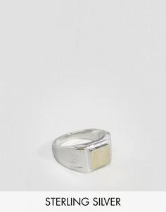 Кольцо-печатка из позолоченного серебра ASOS - Серебряный